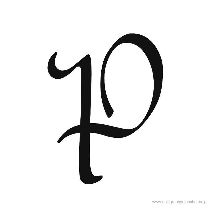 Calligraphy alphabet uppercase p de sign sayings font