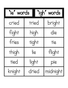 IE and IGH Word Sort and Writing.  Practice those long I words!