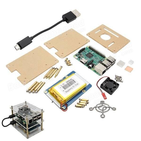 Acryl Box + Pi Ventilator + Kühlkörper Kit Raspberry + Lithium Batterie Platte + Model B 5 in 1 V35 Pi 3