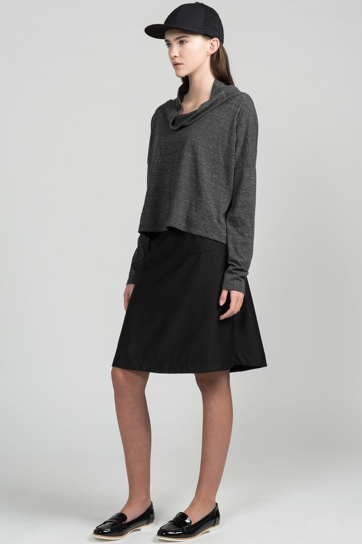 Inning Sweater by Pillar.  Eco-friendly boxy, draped sweater with cowl neck.  Made in Canada.