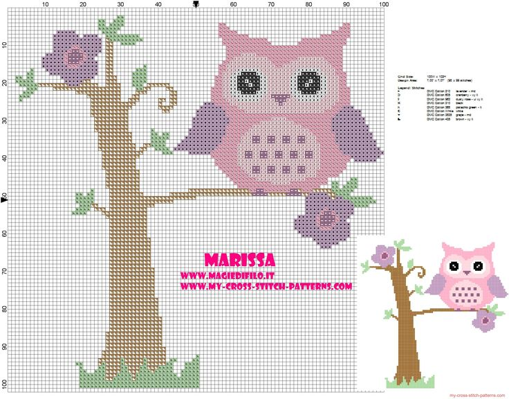 cross-stitch pattern pink owl on tree
