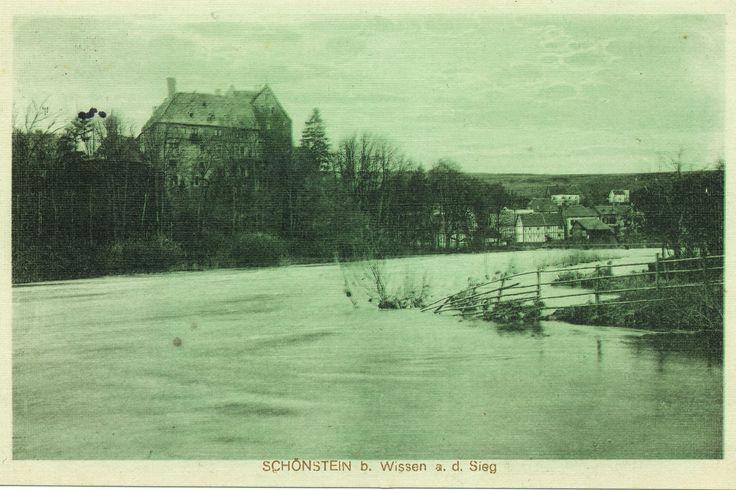 1915 - Frankenthal, überschwemmte Siegwiese, etwa vom alten Sportplatz aus, gel. 1915 - A.O.B.
