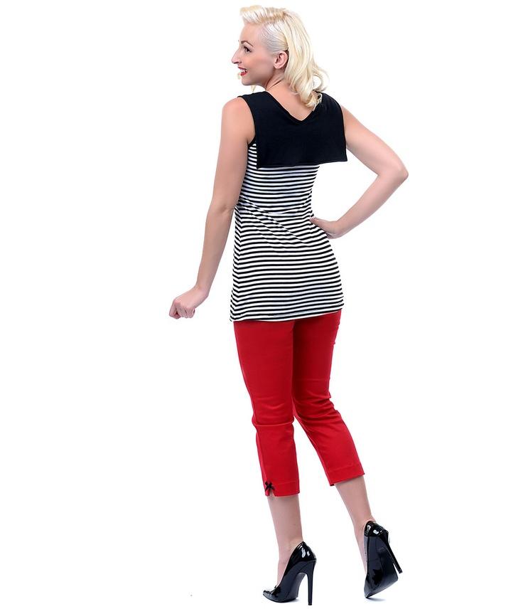 Sailor collar & stripes Black & White Striped Zoey Tunic - Unique Vintage - Prom dresses, retro dresses, retro swimsuits.