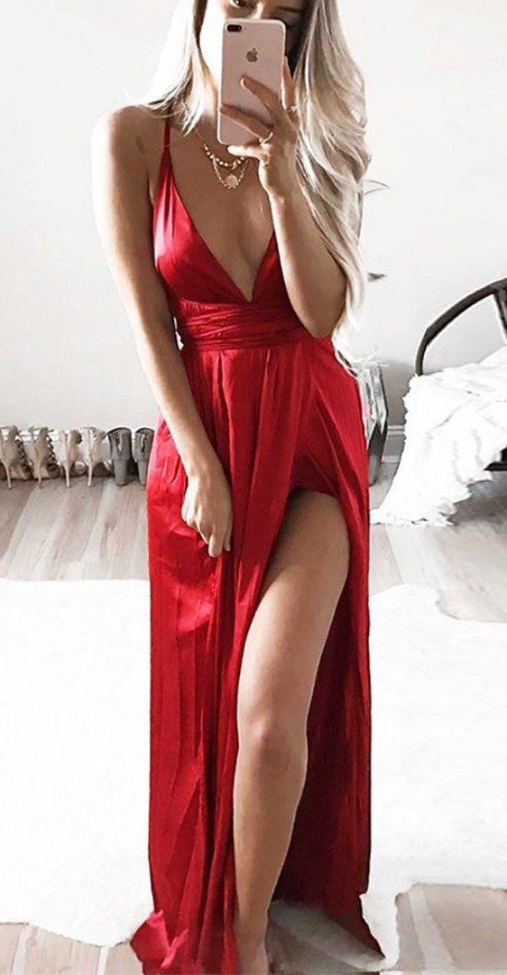 Satin backless sexy long dress | Evening looks