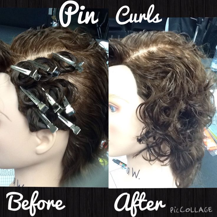 Pin curls before and after using Sebastian texturizer