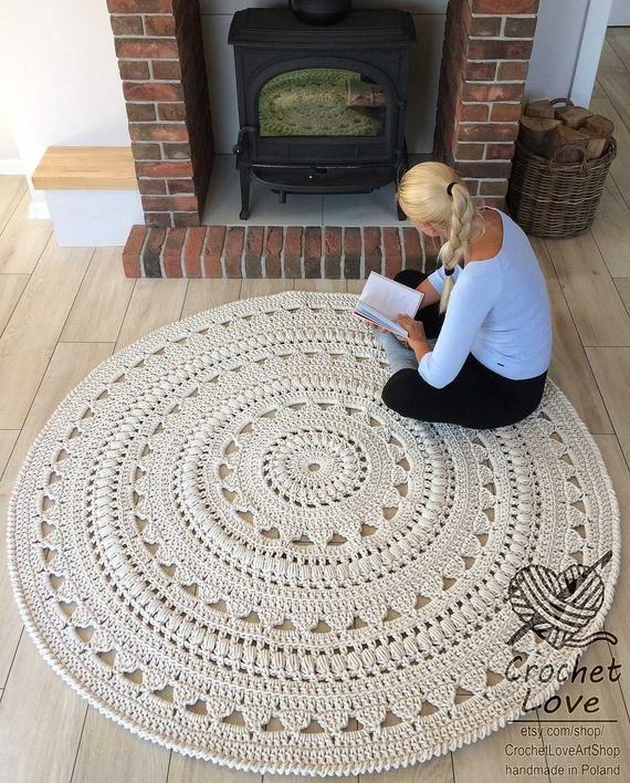 Crochet rug, doily rug, round rug, crochet, round rug, knit rug, baby's rug, hand knitted rug, ECRU crochet rug or choice of color