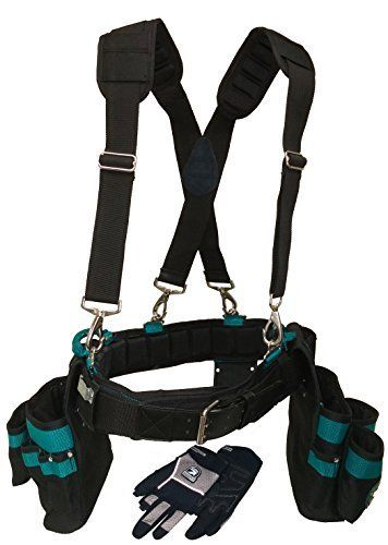 Contractor Pro Professional Carpenter's Complete Package (Tool Belt Suspenders and Gloves). Ventilated Comfort Belt with Air Channel Ventilation. Ventilated Suspenders and Fingerless Work Gloves. Size 3XL (50-54 Inch Waist)