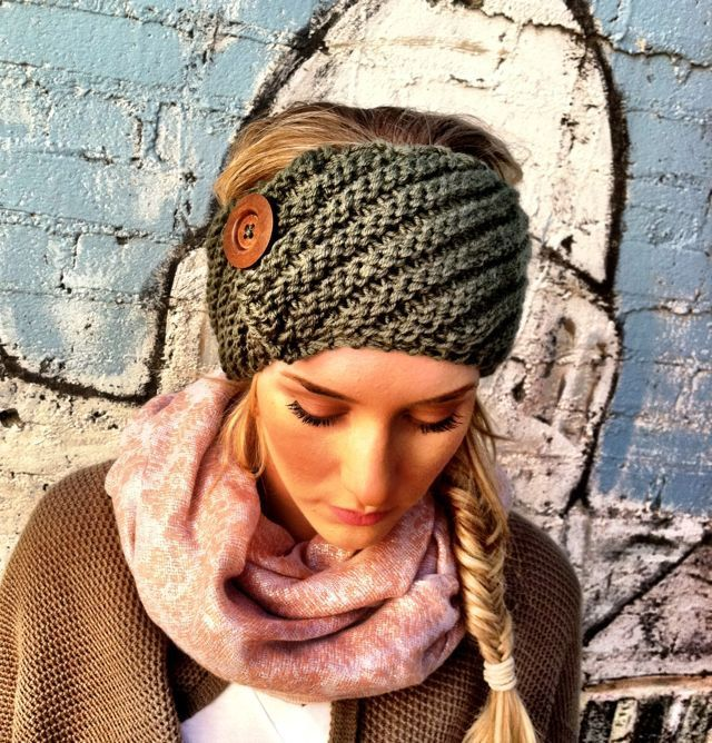crochet headband with big button