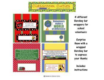 Set of 4 Hershey bar wrappers for school volunteers