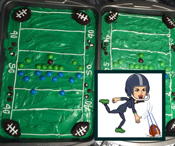 http://instagram.com/p/yk0vt8qKqZ/ NFL Super Bowl XLIX - New England Patriots @ Seattle Seahawks  DIY Brownie Cake :) the M&M are Patriots, and the Skittles are Seahawks since the running back eats skittles every time he scores a touchdown. The quarter back is a black Skittle because he's black. :)