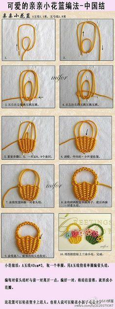 手工DIY 中国结-小花篮编法/ tutorial on how to embroider a 3d basket. Very pretty