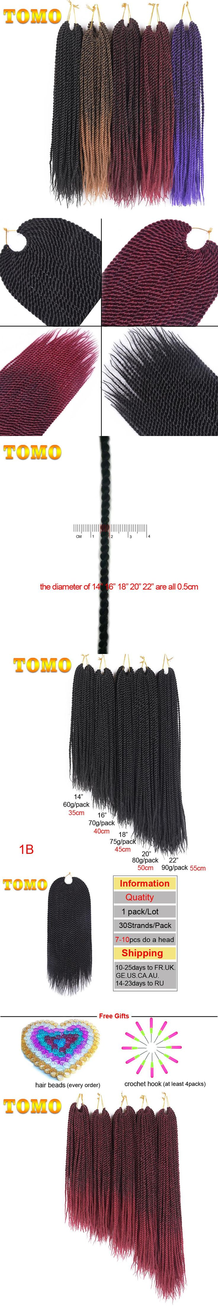 """TOMO Products 14"""" 16"""" 18"""" 20"""" 22"""" 30Strands Small Senegalese Twist Crochet Braids Ombre Kanekalon Synthetic Braiding Hair"""