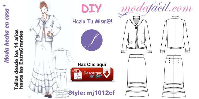 Conjunto de chaqueta y falda larga mj1012cf