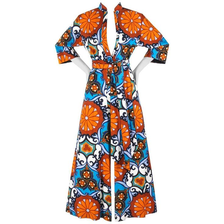 PENTHOUSE GALLERY c.1970's CATHERINE OGUST Floral Print Palazzo Jumpsuit w/ Belt | From a collection of rare vintage suits, outfits and ensembles at https://www.1stdibs.com/fashion/clothing/suits-outfits-ensembles/