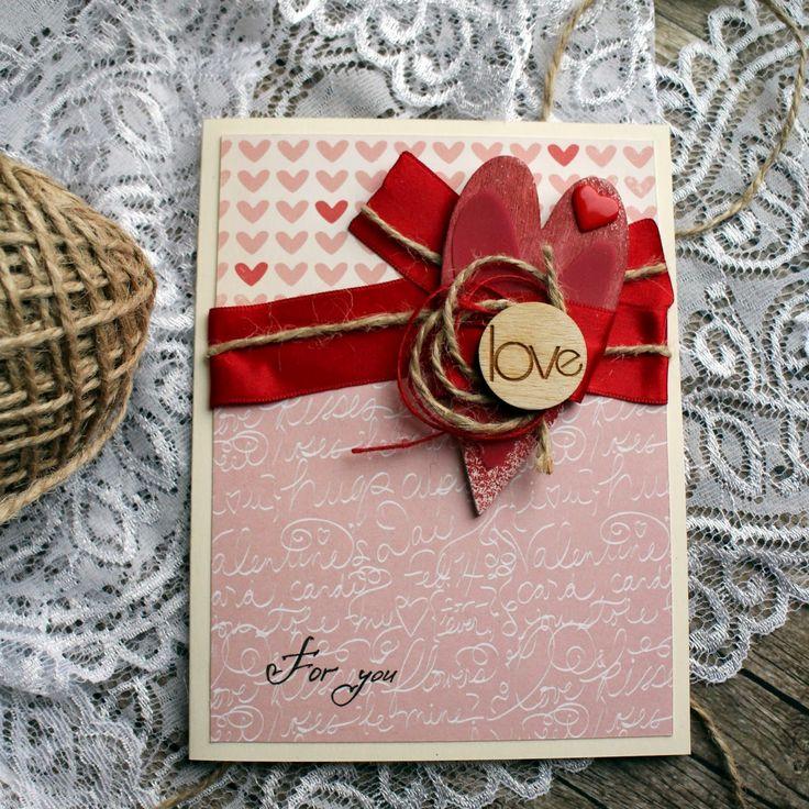 Открытка ко дню Святого Валентина Love for you ручная работа скрапбукинг любовь scrapbooking cardmaking st valentine's day handmade by Hamster-sensey