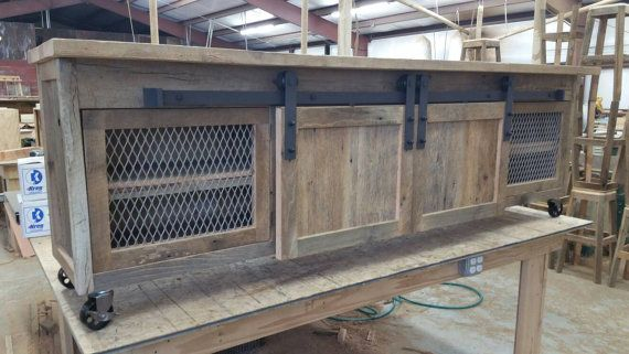 VOTRE Custom industriel et rustique bois de grange Centre de divertissement avec portes de grange LIVRAISON GRATUITE-IRBWEC900F
