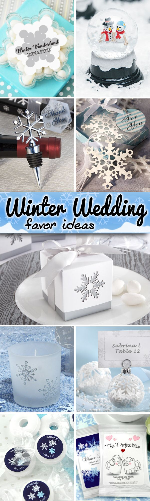 75 Fun and Festive Winter Wedding Favor Ideas like snowflake bookmarks, snow globes, hot cocoa and more!