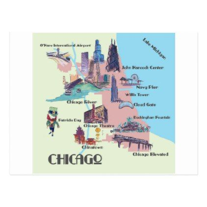 Chicago Georgia Highlights map Postcard - postcard post card postcards unique diy cyo customize personalize