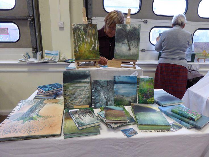 Tessa Frampton : Hand made sketch books, gesso covers and coptic stitch.