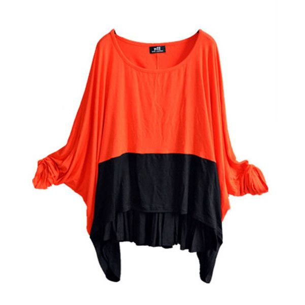 Orange and Black Color Block Batwing T-shirt ($46) ❤ liked on Polyvore featuring tops, t-shirts, chicnova, scoop neck t shirt, cotton tees, scoop-neck tees, orange top and orange tee