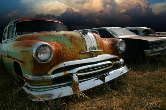 Classic Car Photo Pontiac with Cumulus Clouds by NebraskaSky