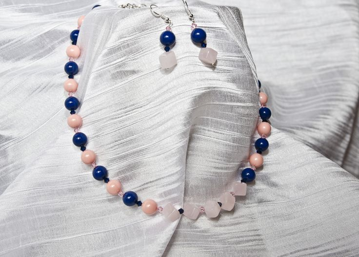"""Swarovski Earrings and Necklace """"Pinkie and the Blue"""""""