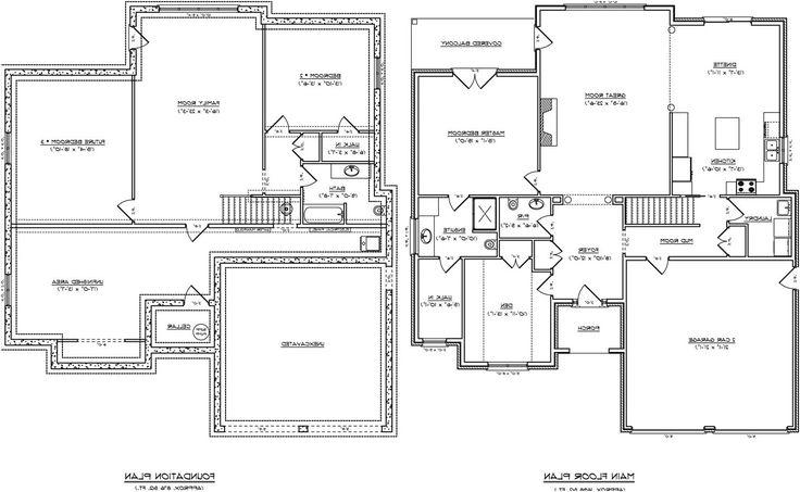 504 best images on pinterest for Half basement house plans