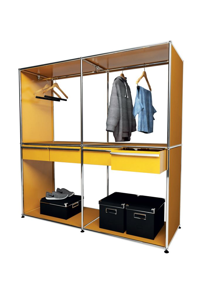 USM modular furniture wardrobe yellow meuble USM Haller dressing jaune