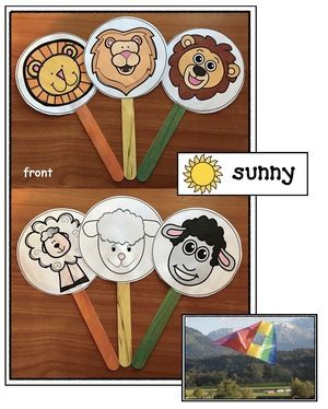 """Lion & Lamb activities: Super-cute """"Lion or Lamb"""" weather craft. Teacher show a pocket chart card or photograph & children decide if it depicts a lion or lamb kind of day. Includes weather cards & 32 photo-posters. Fun way to whole group assess."""