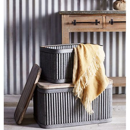 best 25 metal storage bins ideas on pinterest metal bins wooden storage bins and wooden. Black Bedroom Furniture Sets. Home Design Ideas