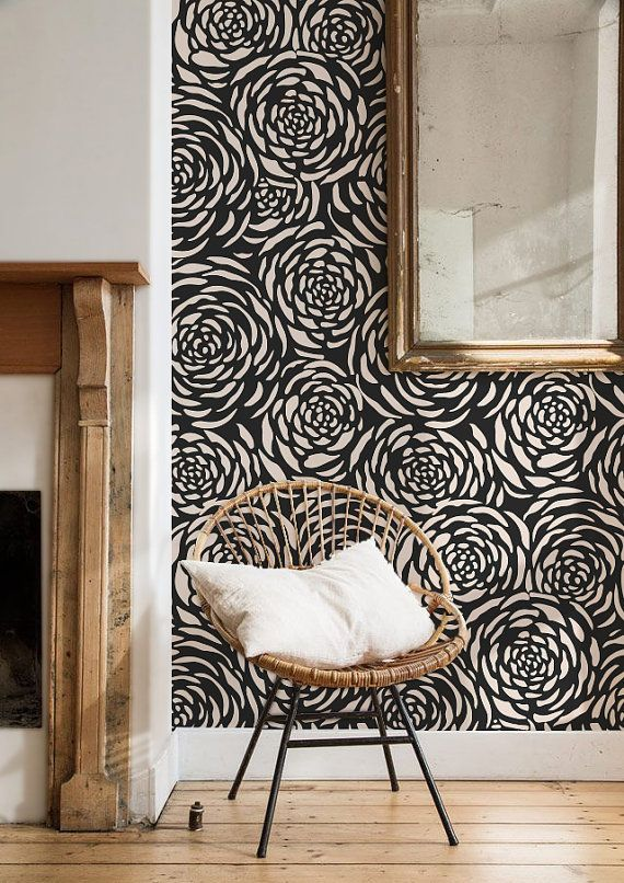 Rose Removable self-adhesive colourful modern vinyl Wallpaper wall sticker - Flower pattern C060