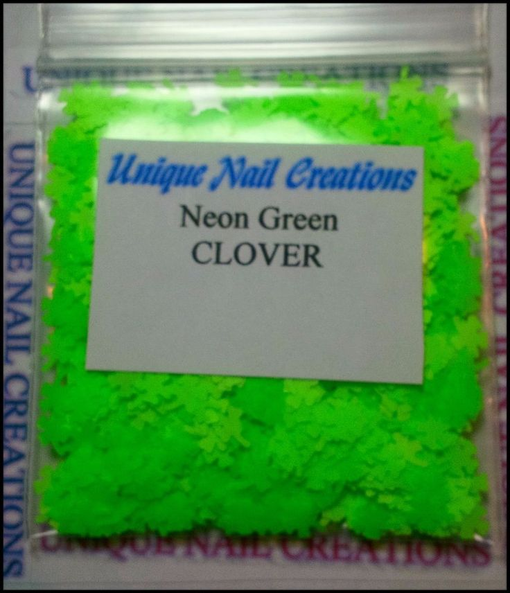 Solvent Resistant CLOVER Neon Green ~ Nail Art~ USA  #UniqueNailCreations
