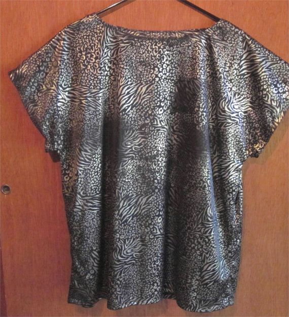 Vintage 80's Black & Silver Women's Top Blouse One by HobbitHouse