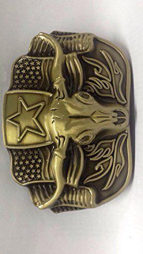 Belt Buckles Men Buffalo Bulls Longhorn Cowboy Western American Bolo Tie Metal Ih 6001