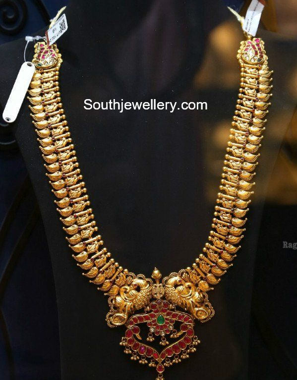22 Carat Gold Antique Peacock Mango Haram With Peacock Pendant Studded With Rubies And Emeralds By Sree Gold Bride Jewelry Gold Fashion Necklace Indian Jewelry