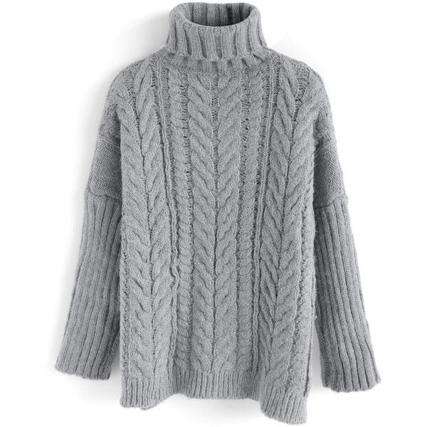 878a584b2 Chicwish Winter Warmth Cable Knit Turtleneck Sweater in Dark Grey ...