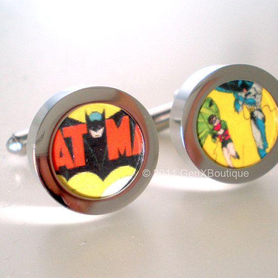 Items similar to Wedding Gift for Groomsmen Cufflinks -- Batman and Robin DC Comics Silver Cuff links on Etsy