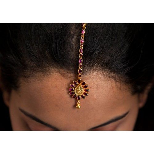 Silver gold plated flower shape tikka with ruby shade | PC 12181
