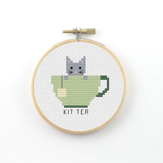 Kit Tea Cross Stitch pattern tea pattern tea pun by ringcat