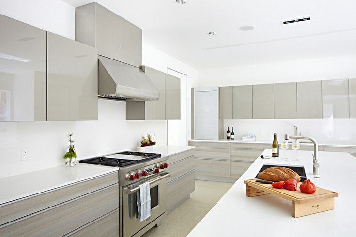 High Gloss Kitchen Traditional with Contemporary Ice Tools and Buckets