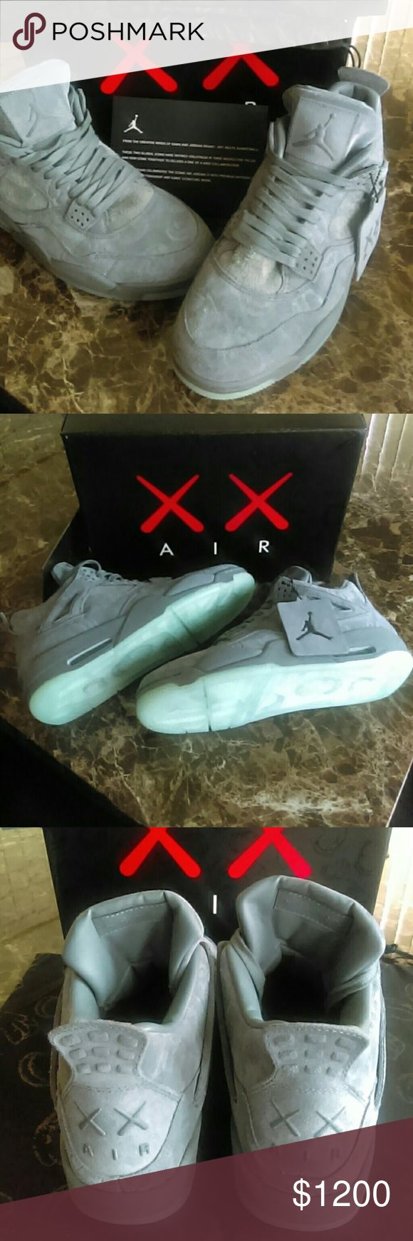Brand New Authentic KAWS Retro Jordan 4, Cool Gray, Bottom Sole glows in the dark. Brand New in Box. Make a decent offer!! Jordan Shoes Athletic Shoes