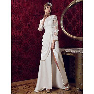 A-line Jewel Sweep/Brush Train Satin And Lace Wedding Dress (699562) – USD $ 199.99