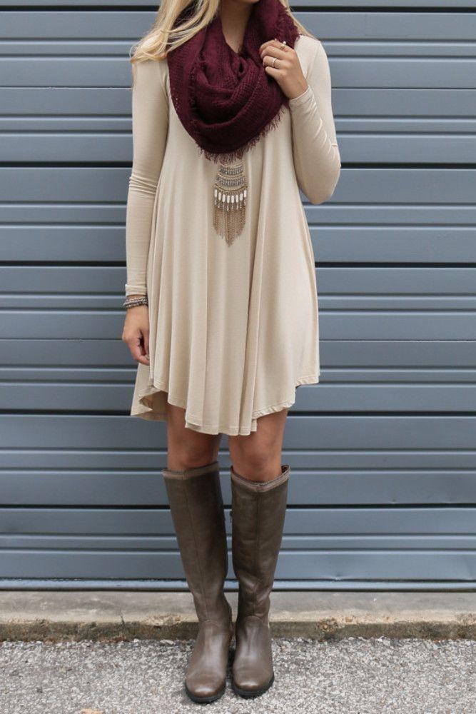 Follow Your Heart Beige V-Neck Long Sleeve Dress