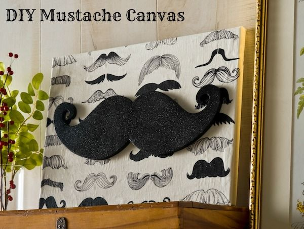 Glitter DIY Mustache Canvas -I'm sure I could make this for someone who is obsessed with them!