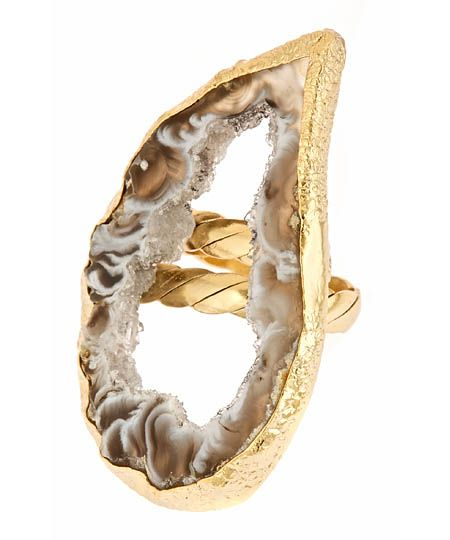Dara Ettinger Kylie Ring. Very into this style lately! And gold. Love it. Metal: 24k gold plate. Stone: Agate. ($80)