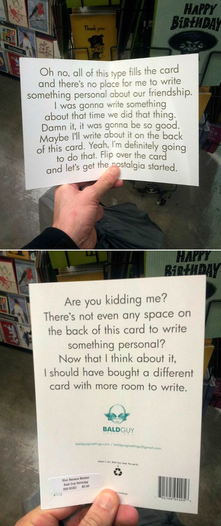I like this card, even though I like to write novel like paragraphs in cards and stuff like this irritates me. Ironic.