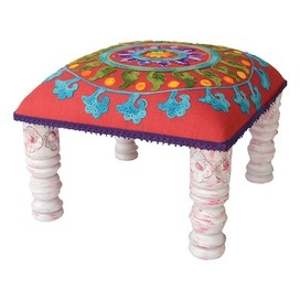 Multicolor Footstool With Turned Mango Wood Legs And Medallion Print Cotton  Upholstery. Product: FootstoolConstruction Material: Mango Wood And Cotton  ...