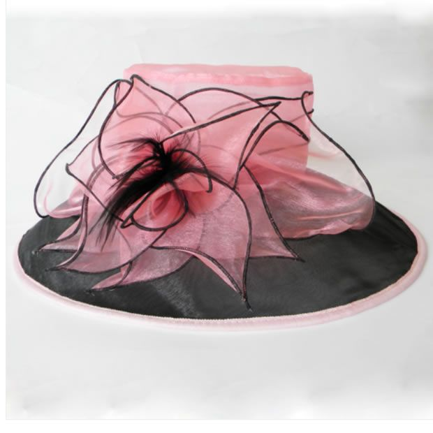 Ladies Pink Organza Fancy Fashion Dress Derby Hats for Church Women SKU-158536