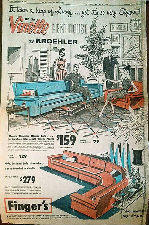 1963 Ad For Vinelle Furniture By Kroehler Available From Fingeru0027s  Department Store, Houston, Texas (artwork By William G.