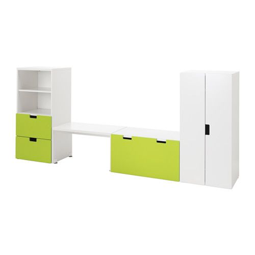 IKEA - STUVA, Storage combination with bench, white/green, 300x50x128 cm, , Low storage makes it easier for children to reach and organize their things.You can transform the bench into an extra storage space by simply adding a storage box underneath. The storage box is sold separately.Stands evenly on an uneven floor; adjustable feet included.Doors with silent soft-closing damper.The doors and drawer fronts have rounded corners and cut-out handles with smooth edges.
